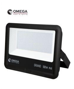 פנס הצפה 500W AC דגם GRAND שחור אור יום OMEGA